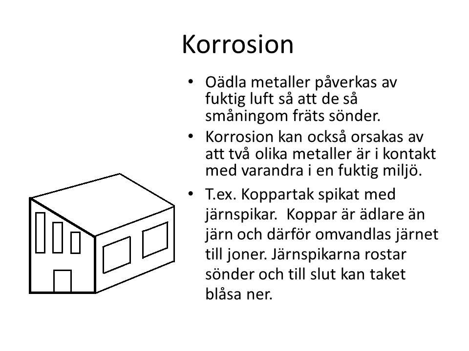 Korrosion Oädla metaller påverkas av fuktig luft så att de så småningom fräts sönder.