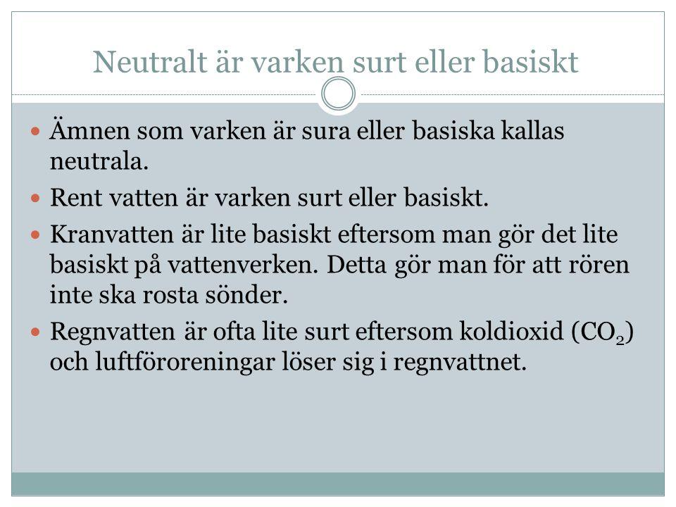 Neutralt är varken surt eller basiskt