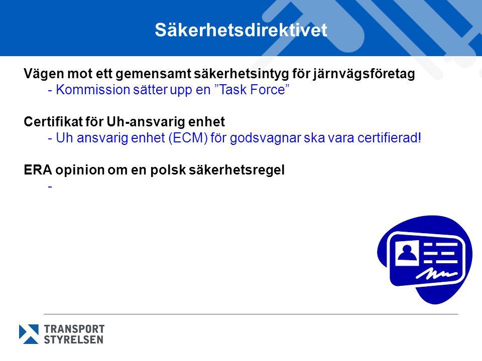 Säkerhetsdirektivet Vägen mot ett gemensamt säkerhetsintyg för järnvägsföretag. Kommission sätter upp en Task Force