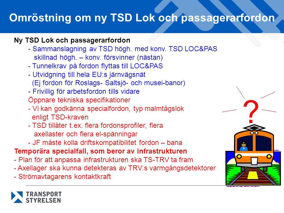 Omröstning om ny TSD Lok och passagerarfordon