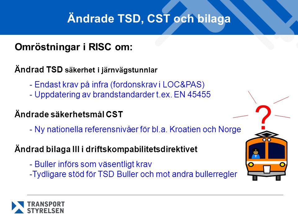 Ändrade TSD, CST och bilaga
