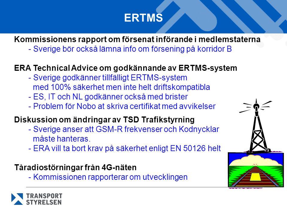 ERTMS Kommissionens rapport om försenat införande i medlemstaterna