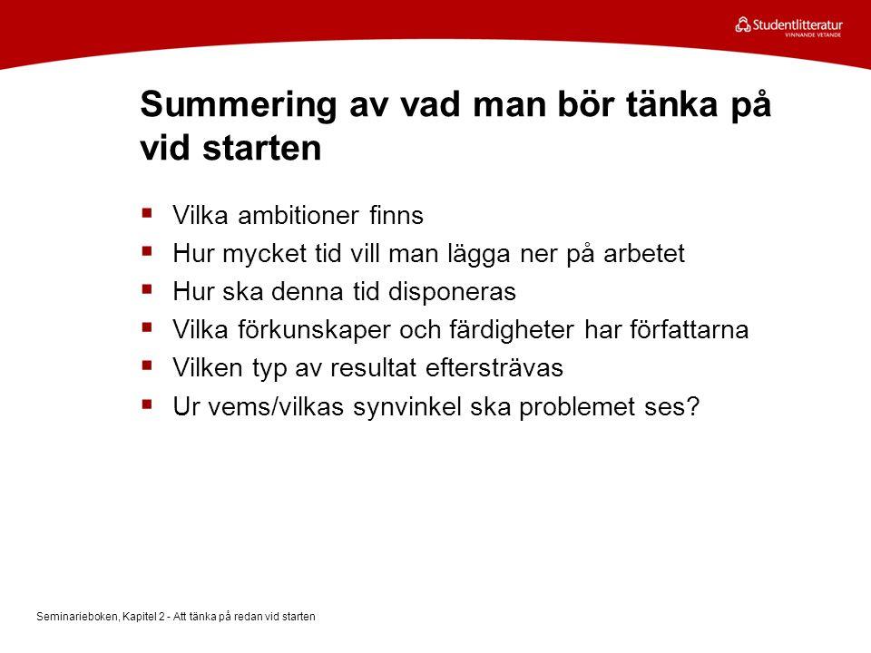 Summering av vad man bör tänka på vid starten