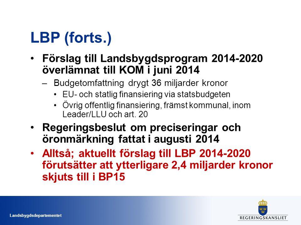 LBP (forts.) Förslag till Landsbygdsprogram 2014-2020 överlämnat till KOM i juni 2014. Budgetomfattning drygt 36 miljarder kronor.