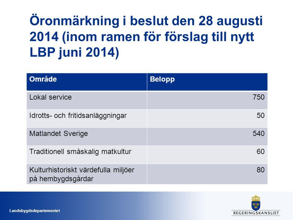 Öronmärkning i beslut den 28 augusti 2014 (inom ramen för förslag till nytt LBP juni 2014)