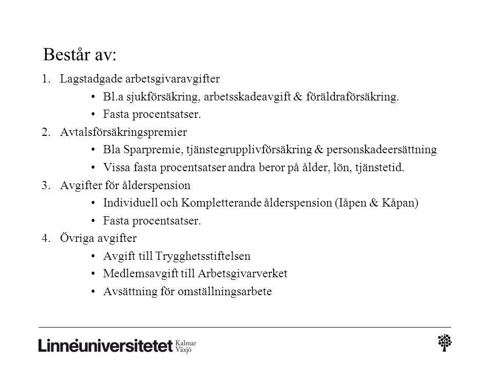 Består av: Lagstadgade arbetsgivaravgifter
