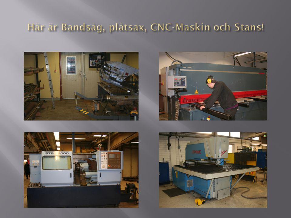 Här är Bandsåg, plåtsax, CNC-Maskin och Stans!