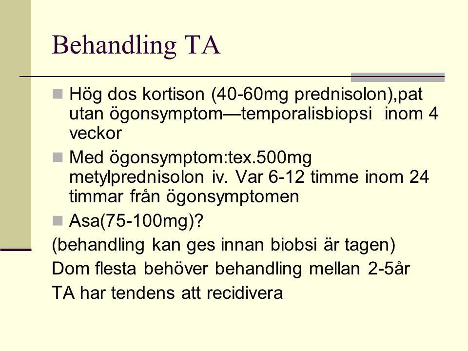 Behandling TA Hög dos kortison (40-60mg prednisolon),pat utan ögonsymptom—temporalisbiopsi inom 4 veckor.