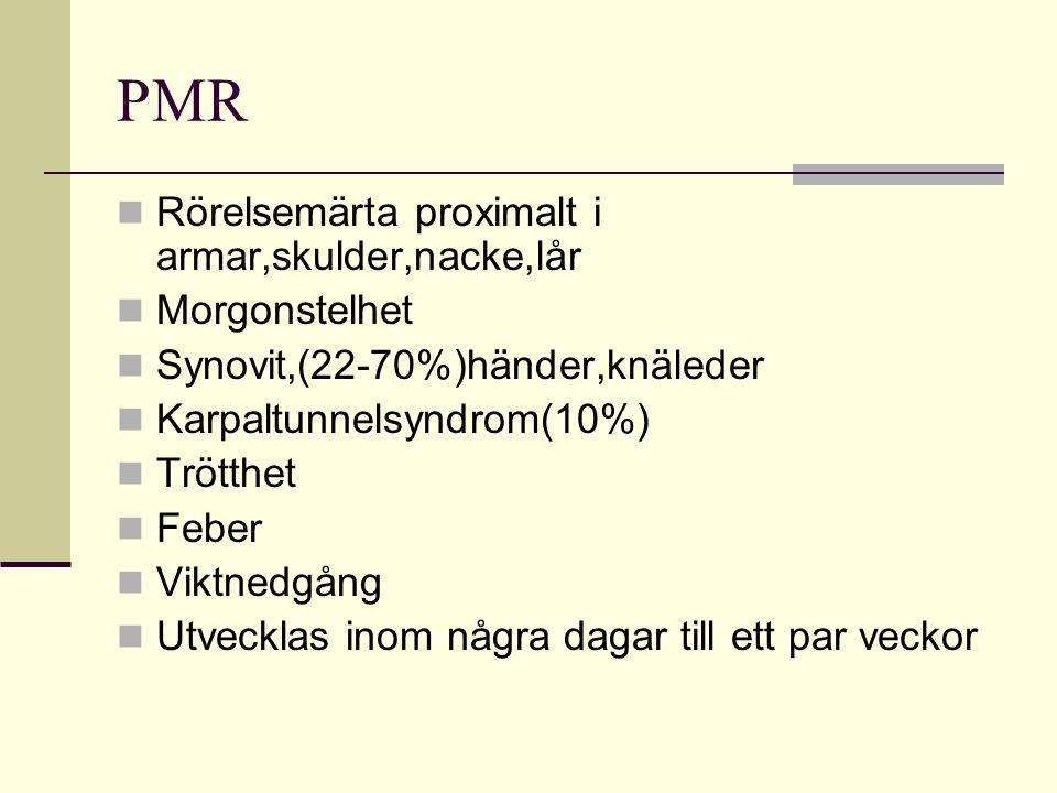 PMR Rörelsemärta proximalt i armar,skulder,nacke,lår Morgonstelhet