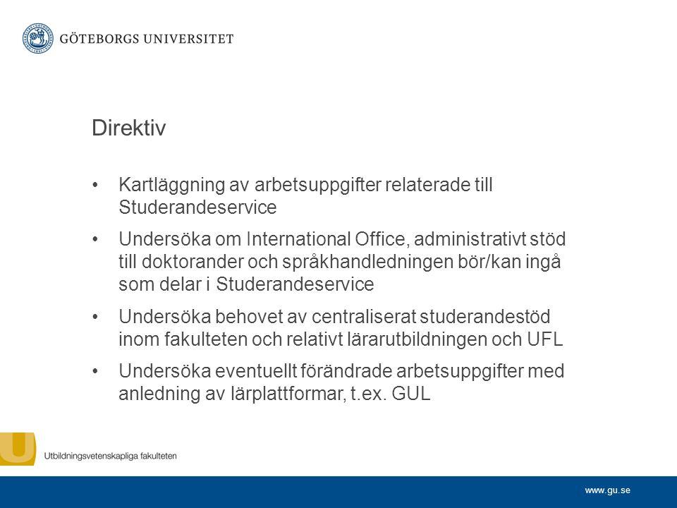 Direktiv Kartläggning av arbetsuppgifter relaterade till Studerandeservice.