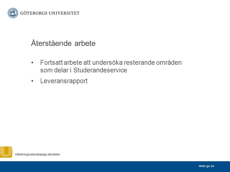 Återstående arbete Fortsatt arbete att undersöka resterande områden som delar i Studerandeservice.