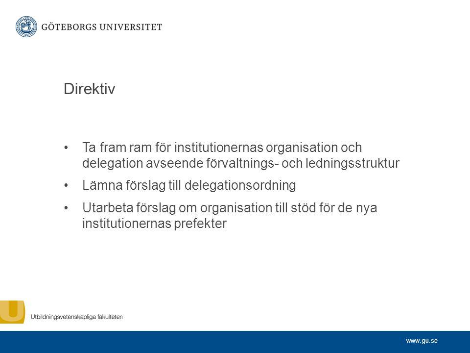 Direktiv Ta fram ram för institutionernas organisation och delegation avseende förvaltnings- och ledningsstruktur.