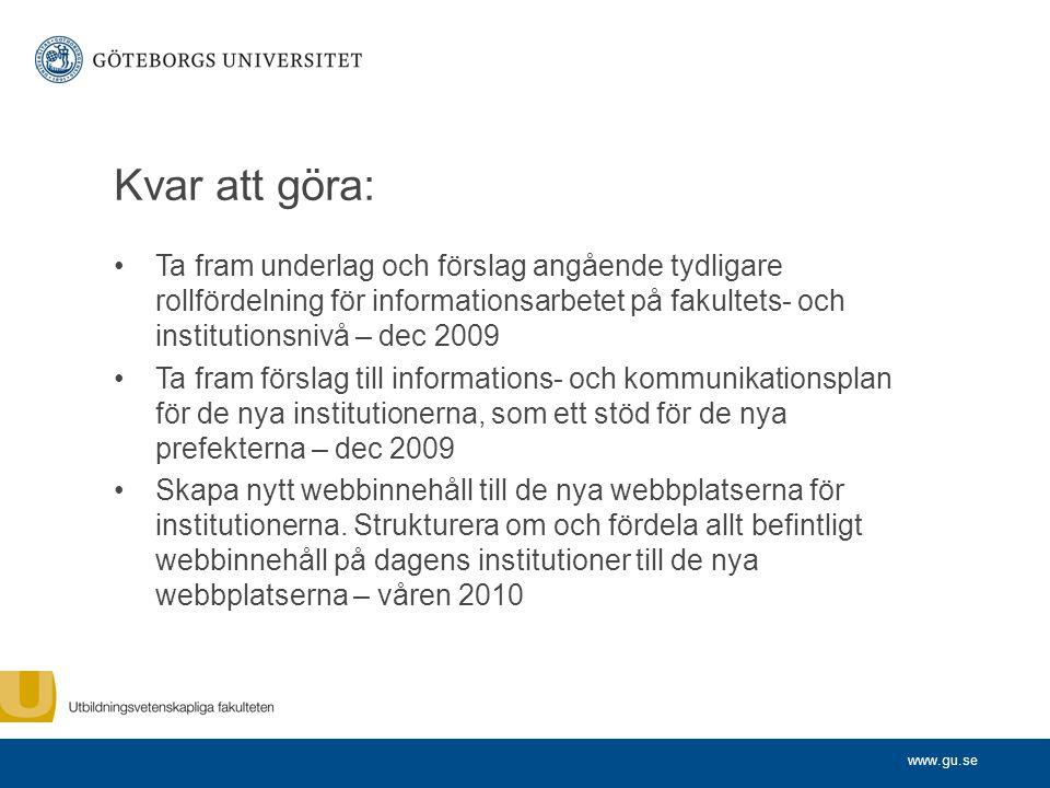 Kvar att göra: Ta fram underlag och förslag angående tydligare rollfördelning för informationsarbetet på fakultets- och institutionsnivå – dec 2009.