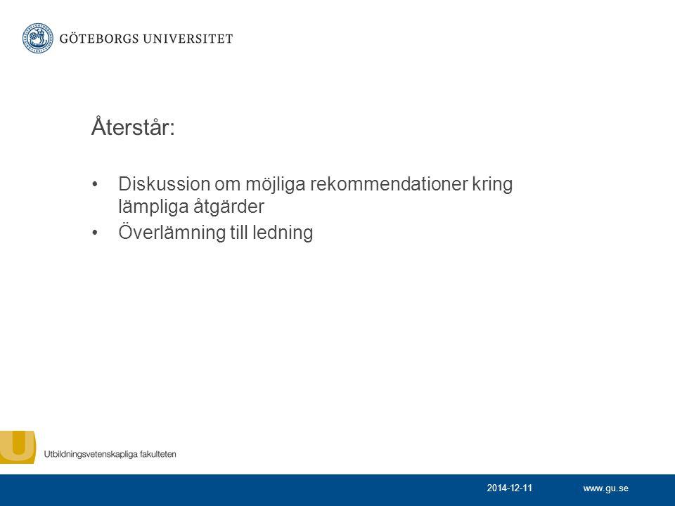 Återstår: Diskussion om möjliga rekommendationer kring lämpliga åtgärder. Överlämning till ledning.
