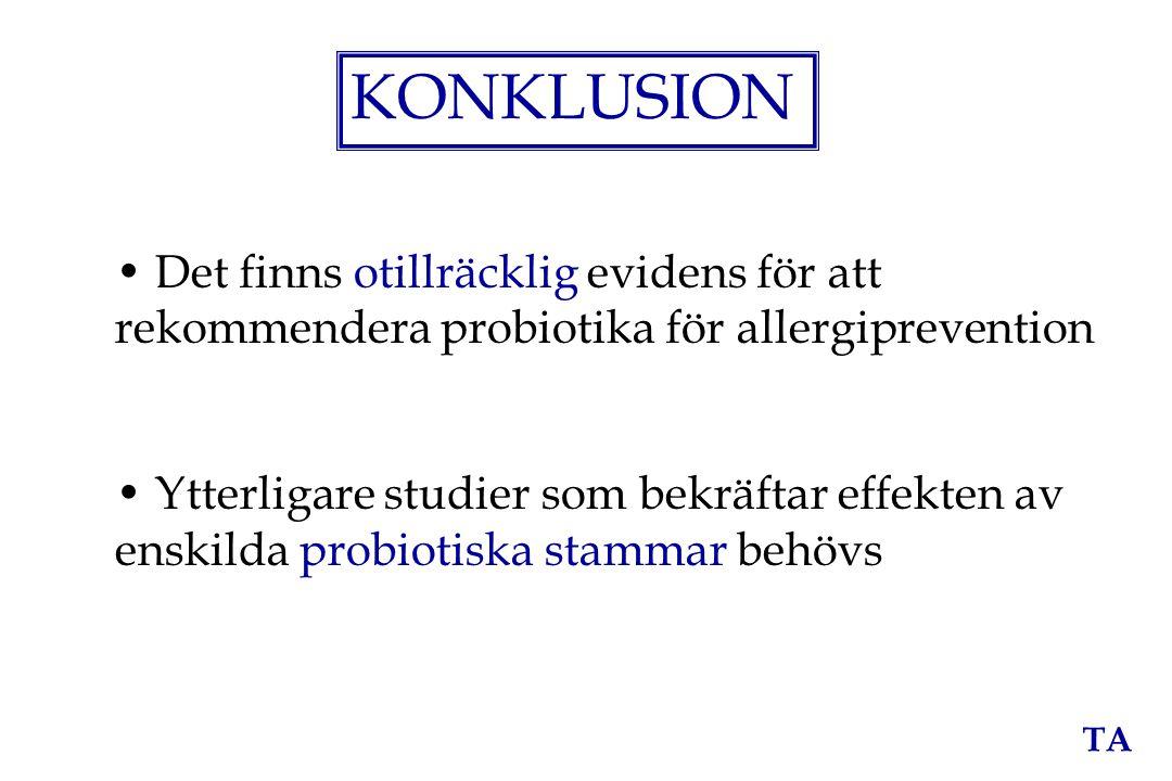 KONKLUSION Det finns otillräcklig evidens för att rekommendera probiotika för allergiprevention.