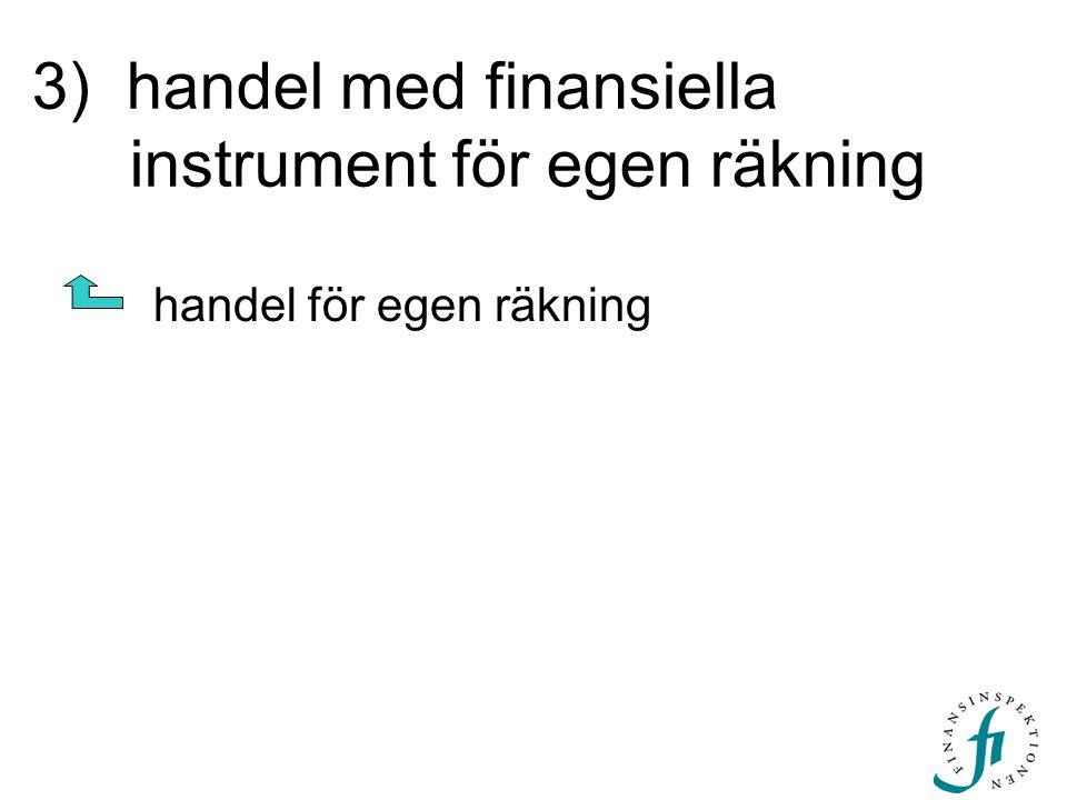 3) handel med finansiella instrument för egen räkning