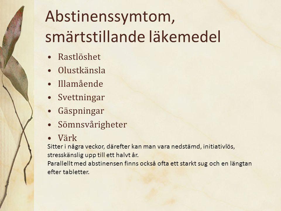 Abstinenssymtom, smärtstillande läkemedel