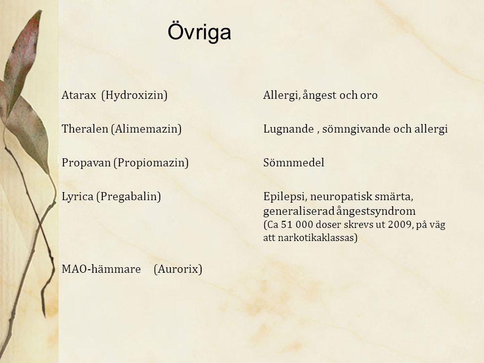 Övriga Atarax (Hydroxizin) Allergi, ångest och oro