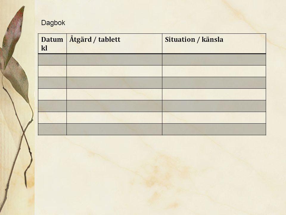 Dagbok Datum kl Åtgärd / tablett Situation / känsla