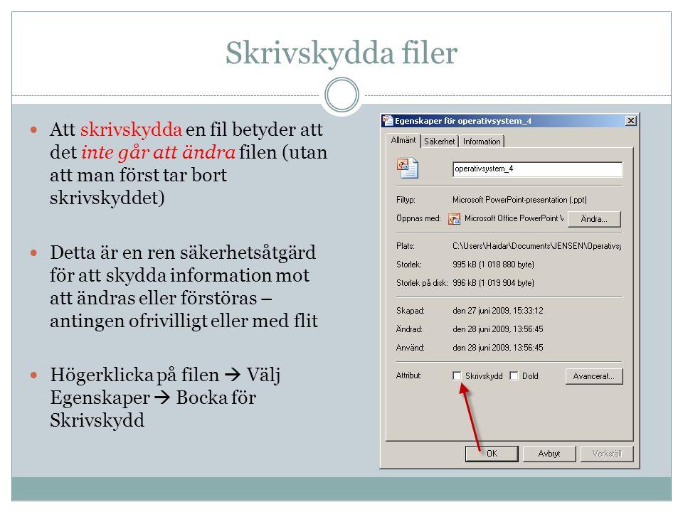 Skrivskydda filer Att skrivskydda en fil betyder att det inte går att ändra filen (utan att man först tar bort skrivskyddet)