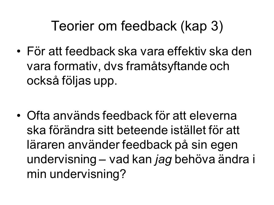 Teorier om feedback (kap 3)