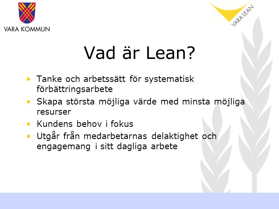 Vad är Lean Tanke och arbetssätt för systematisk förbättringsarbete