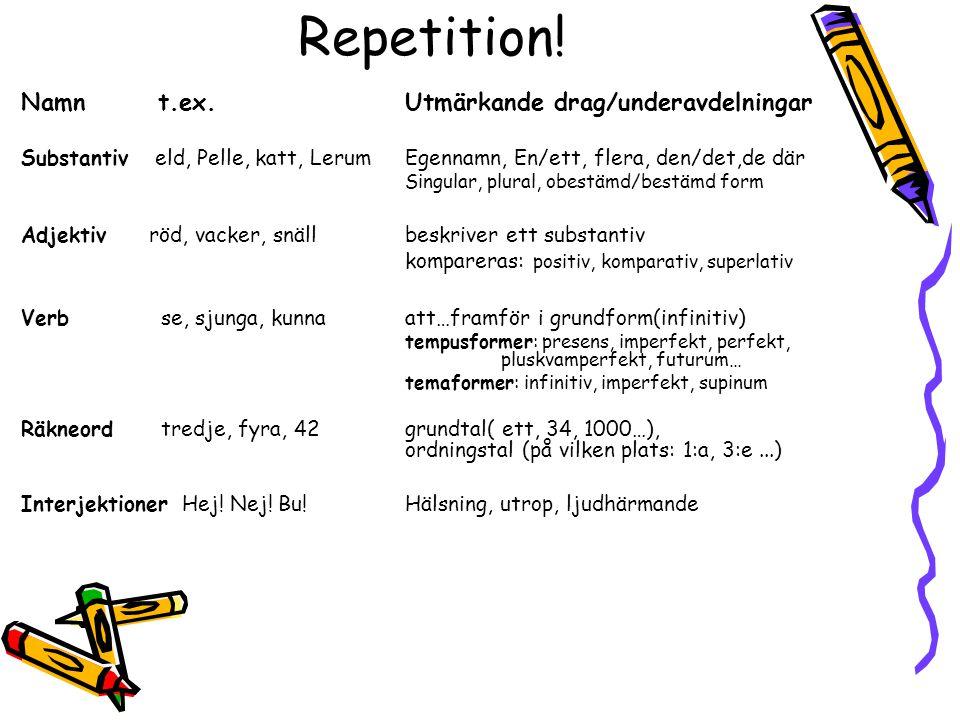 Repetition! Namn t.ex. Utmärkande drag/underavdelningar