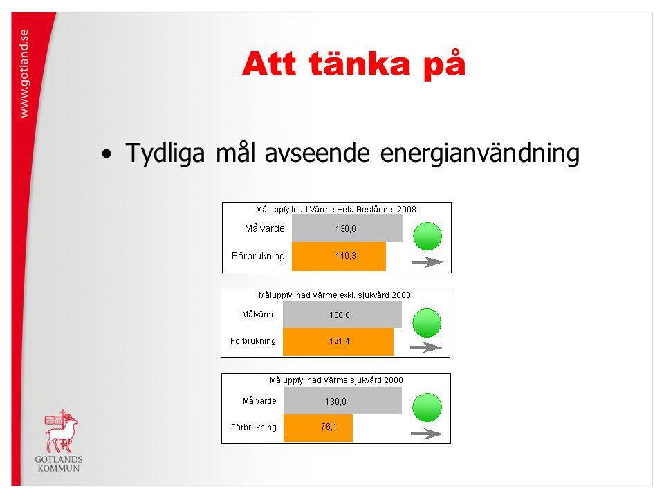 Att tänka på Tydliga mål avseende energianvändning