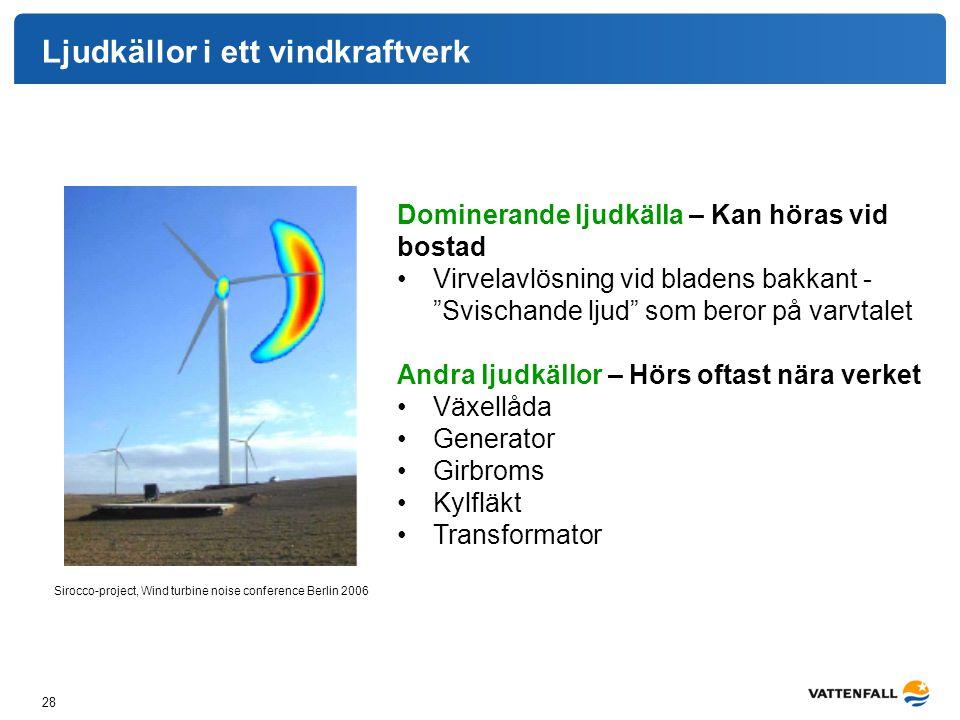 Ljudkällor i ett vindkraftverk