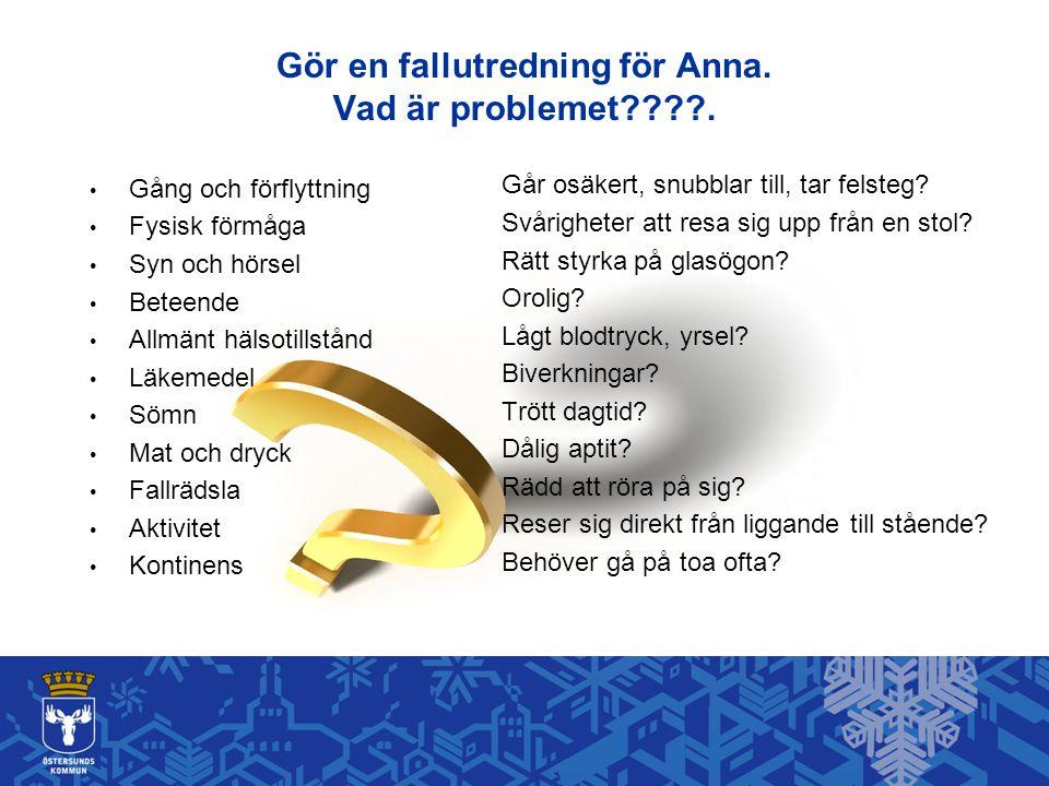 Gör en fallutredning för Anna. Vad är problemet .