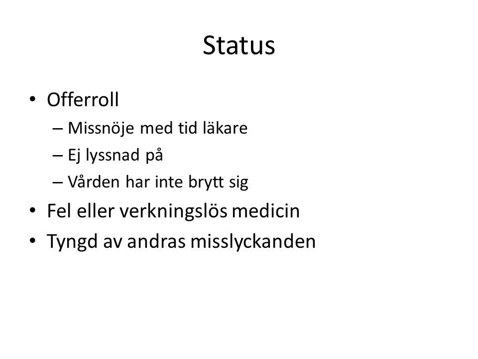 Status Offerroll Fel eller verkningslös medicin
