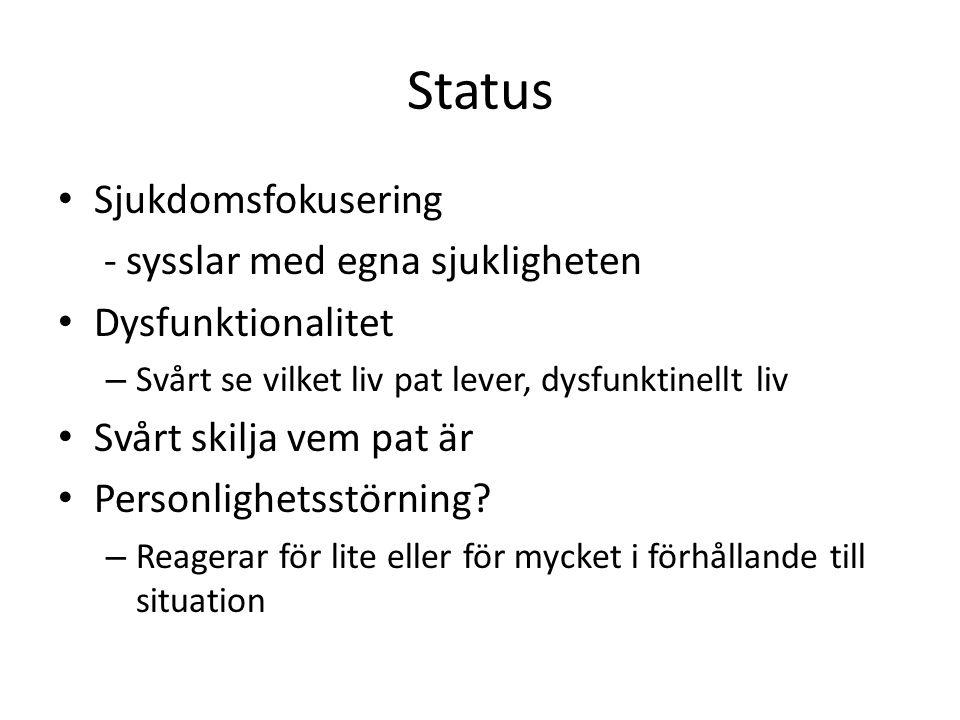 Status Sjukdomsfokusering - sysslar med egna sjukligheten