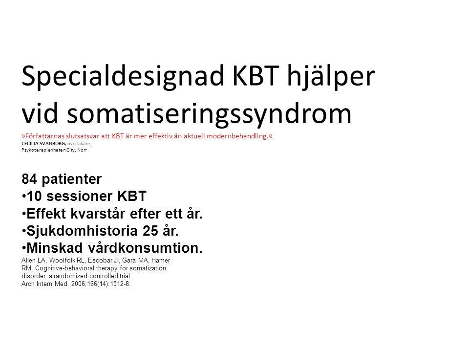 Specialdesignad KBT hjälper vid somatiseringssyndrom