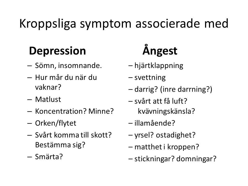 Kroppsliga symptom associerade med