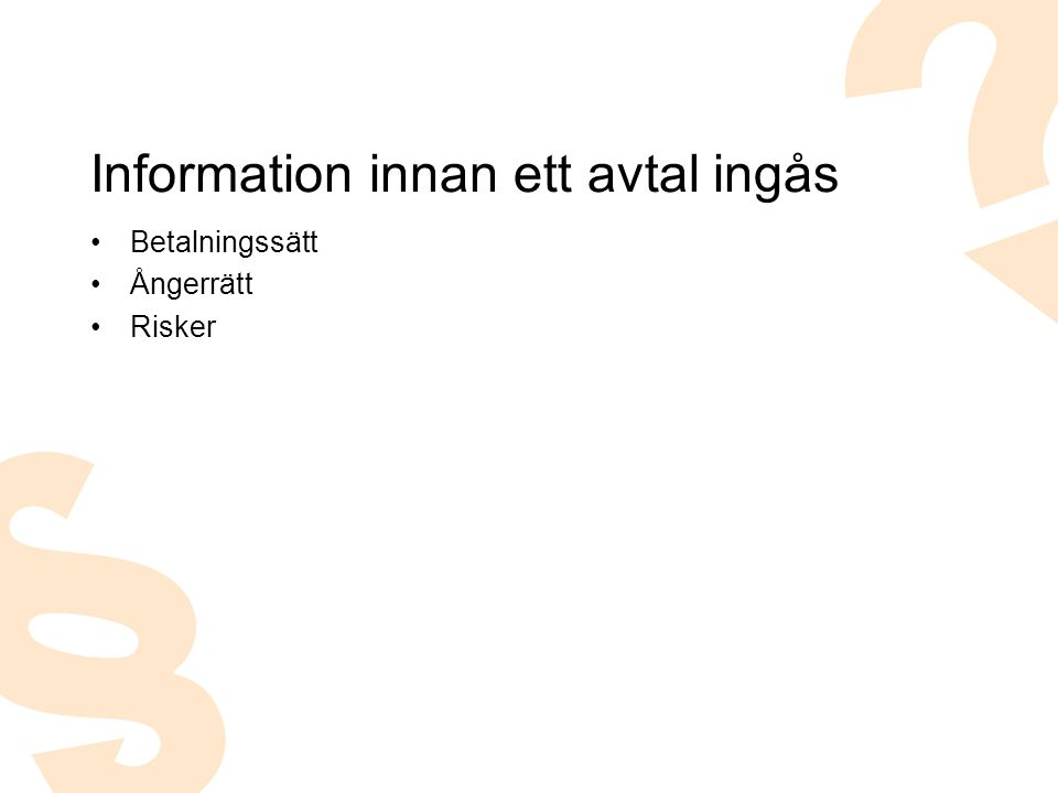 Information innan ett avtal ingås
