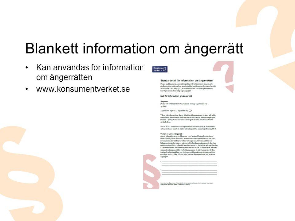 Blankett information om ångerrätt