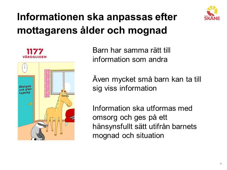 Informationen ska anpassas efter mottagarens ålder och mognad