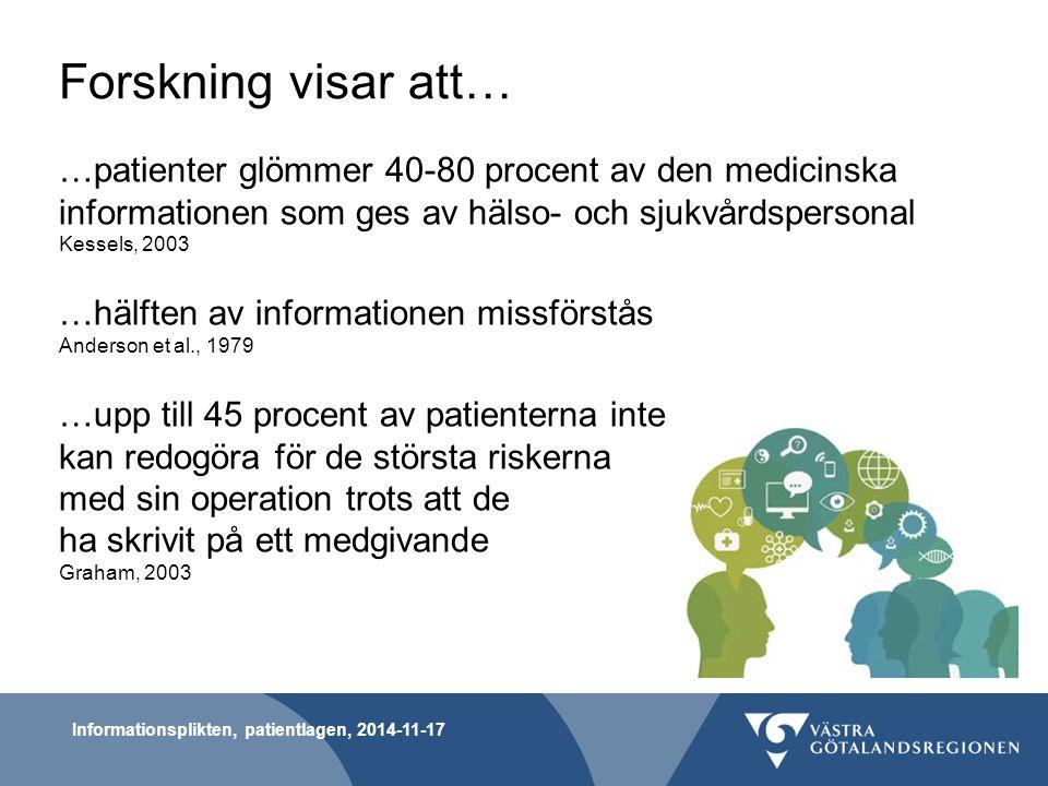 Forskning visar att… …patienter glömmer 40-80 procent av den medicinska informationen som ges av hälso- och sjukvårdspersonal.