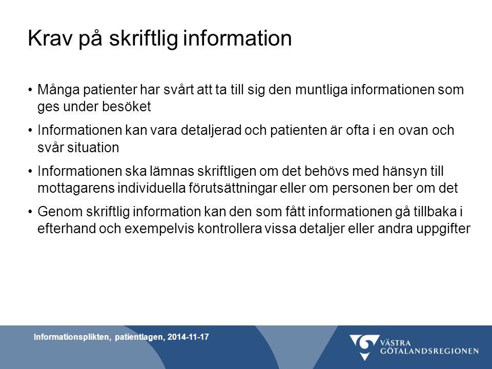 Krav på skriftlig information