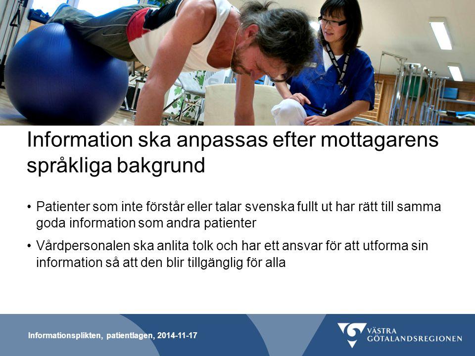 Information ska anpassas efter mottagarens språkliga bakgrund