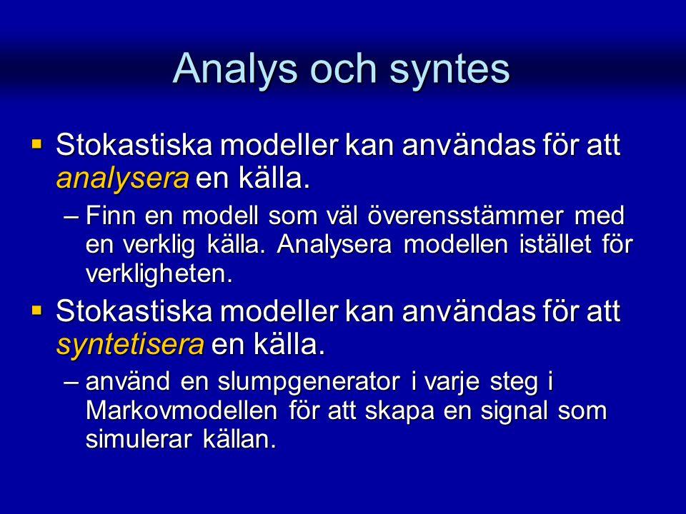Analys och syntes Stokastiska modeller kan användas för att analysera en källa.