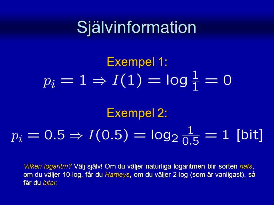 Självinformation Exempel 1: Exempel 2: