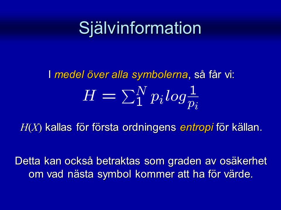 Självinformation I medel över alla symbolerna, så får vi: