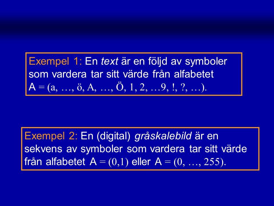 Exempel 1: En text är en följd av symboler som vardera tar sitt värde från alfabetet A = (a, …, ö, A, …, Ö, 1, 2, …9, !, , …).