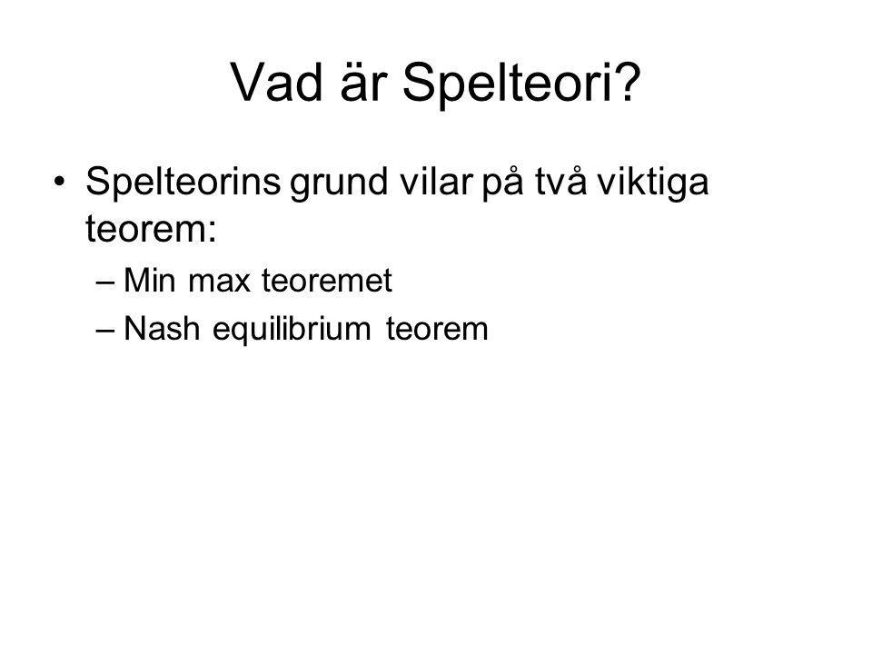 Vad är Spelteori Spelteorins grund vilar på två viktiga teorem: