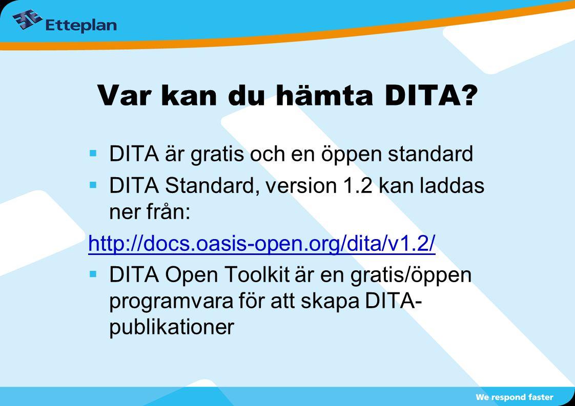Var kan du hämta DITA DITA är gratis och en öppen standard
