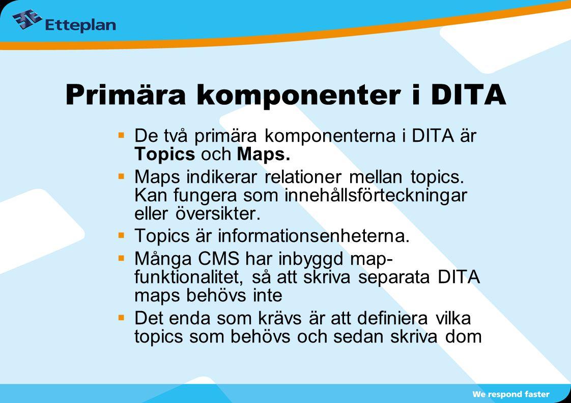 Primära komponenter i DITA