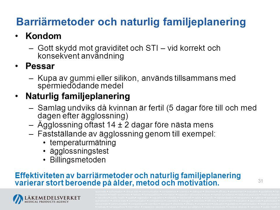 Barriärmetoder och naturlig familjeplanering