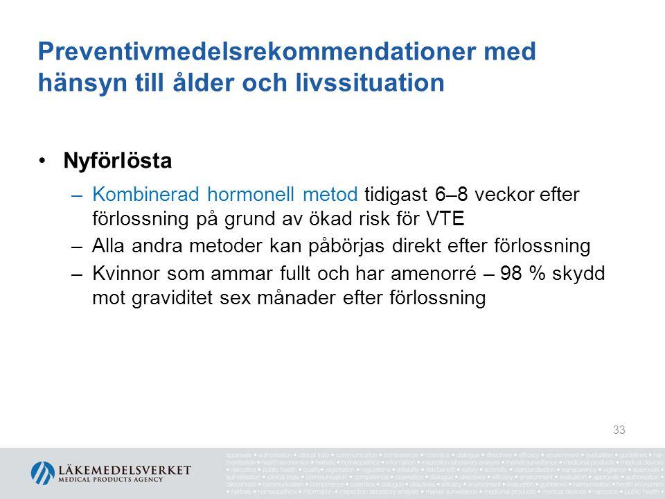 Preventivmedelsrekommendationer med hänsyn till ålder och livssituation