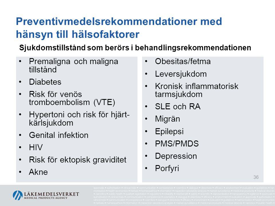 Preventivmedelsrekommendationer med hänsyn till hälsofaktorer
